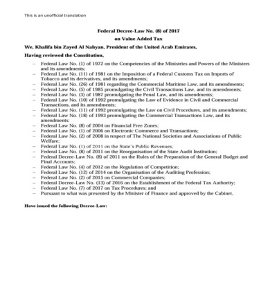 Federal Decree-Law No. (8) of 2017 on Value Added Tax