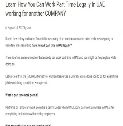 Learn How You Can Work Part Time Legally In UAE working for another COMPANY